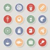 Ícones redondos do alimento Ilustração do vetor Fotografia de Stock