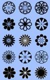 Ícones redondos do estilo da flor Imagem de Stock