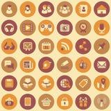 Ícones redondos dos trabalhos em rede sociais ajustados Imagens de Stock Royalty Free