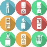 Ícones redondos lisos do refrigerador de água Imagens de Stock