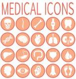 Ícones redondos médicos ajustados ilustração royalty free