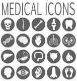 Ícones redondos médicos isolados ajustados ilustração do vetor