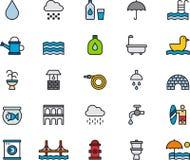 Ícones relacionados da água Fotografia de Stock