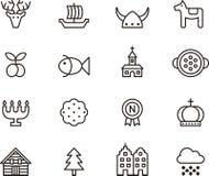 Ícones relacionados da Suécia ilustração do vetor