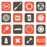Ícones relacionados das peças de automóvel Imagem de Stock Royalty Free