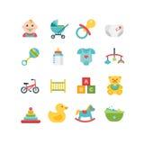 Ícones relacionados do bebê e da criança, ilustrações Imagem de Stock