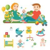 Ícones relacionados do bebê e da criança, ilustrações Fotografia de Stock Royalty Free
