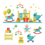 Ícones relacionados do bebê e da criança, ilustrações Fotos de Stock