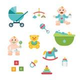 Ícones relacionados do bebê e da criança, ilustrações Fotos de Stock Royalty Free