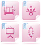 Ícones relacionados do hotel Imagens de Stock Royalty Free