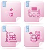 Ícones relacionados do hotel Imagens de Stock