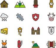 Ícones relativos a Suíça Fotografia de Stock Royalty Free
