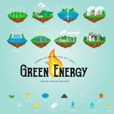 Ícones renováveis da energia da ecologia, conceito alternativo dos recursos do poder verde da cidade, nova tecnologia das economi Foto de Stock Royalty Free