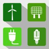 Ícones renováveis das fontes de energia - moinho de vento, painel solar, eletricidade e ampola moderna Fotos de Stock Royalty Free