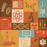 Ícones retros da ciência, os médicos e da educação Vetor Fotografia de Stock