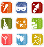 Ícones retros da mistura do partido da modificação foto de stock