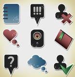 Ícones retros de papel de uma comunicação do vintage Imagens de Stock