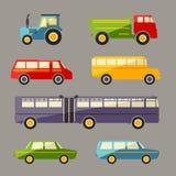 Ícones retros do carro liso do vetor ajustados Fotografia de Stock Royalty Free