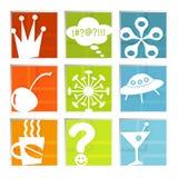 Ícones retros do divertimento (vetor) Imagem de Stock