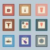 Ícones retros do estilo ajustados para o café Fotos de Stock
