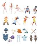 Ícones retros do estilo dos desenhos animados do basebol ajustados Imagem de Stock