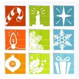 Ícones retros do Natal Imagens de Stock Royalty Free