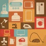 Ícones retros dos aparelhos eletrodomésticos Ilustração do vetor Imagem de Stock Royalty Free