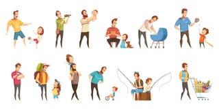 Ícones retros dos desenhos animados da paternidade ajustados Imagem de Stock Royalty Free