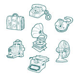 Ícones retros dos objetos ajustados Foto de Stock