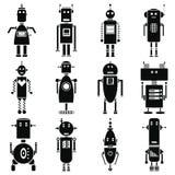 Ícones retros dos robôs do vintage ajustados em preto e branco Fotos de Stock Royalty Free