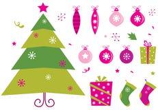 Ícones retros e elementos do Natal da cor-de-rosa e do verde Fotografia de Stock