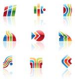 Ícones retros lustrosos, logotipos Imagens de Stock Royalty Free