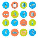 Ícones running redondos Imagens de Stock