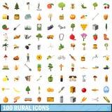 100 ícones rurais ajustados, estilo dos desenhos animados Fotos de Stock