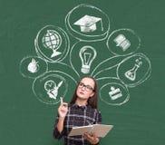 Ícones sérios da escolha da menina e da educação Fotos de Stock Royalty Free