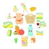 Ícones saudáveis ajustados, estilo do estilo de vida dos desenhos animados Imagens de Stock Royalty Free