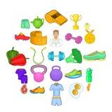 Ícones saudáveis ajustados, estilo do estilo de vida dos desenhos animados ilustração royalty free