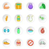 Ícones saudáveis ajustados, estilo do estilo de vida dos desenhos animados Fotografia de Stock