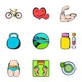 Ícones saudáveis ajustados, estilo do estilo de vida dos desenhos animados Imagem de Stock