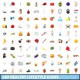 100 ícones saudáveis ajustados, estilo do estilo de vida dos desenhos animados Fotos de Stock Royalty Free