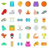 Ícones saudáveis ajustados, estilo do estilo de vida dos desenhos animados Fotos de Stock Royalty Free