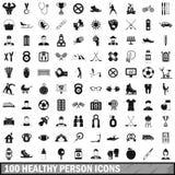 100 ícones saudáveis ajustados, estilo simples da pessoa Imagens de Stock Royalty Free