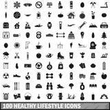 100 ícones saudáveis ajustados, estilo simples do estilo de vida ilustração royalty free