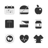 Ícones saudáveis da dieta da aptidão ajustados Imagens de Stock Royalty Free