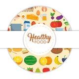 Ícones saudáveis do alimento Fotografia de Stock Royalty Free