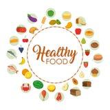 Ícones saudáveis do alimento Imagem de Stock