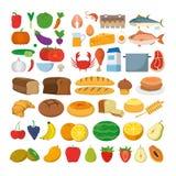 Ícones saudáveis do alimento Fotos de Stock