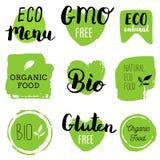 Ícones saudáveis do alimento, etiquetas Tag orgânicos Elementos do produto natural Logotipo para o menu do restaurante do vegetar Imagens de Stock