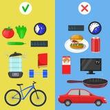 Ícones saudáveis do estilo de vida ilustração stock