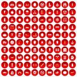 100 ícones saudáveis do estilo de vida ajustados vermelhos ilustração do vetor